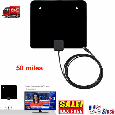 50Mile 1080P HD Digital Indoor Amplified TV Antenna HDTV with VHF UHF Amplifier