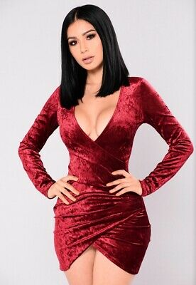0d457ea3a28 FASHION NOVA RIYA Crushed Velvet Burgundy Dress -  26.00