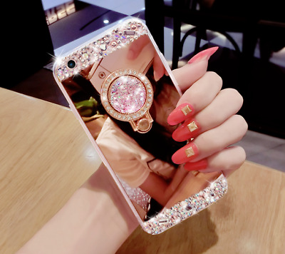 For iPhone X XR Bling Crystal Glitter Diamond Mirror Back Case Protective Covers