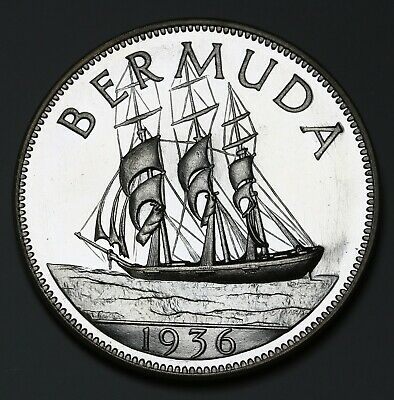 1936 Bermuda Crown X# 1aSterling Silver Proof Coin Edward VIII RARE