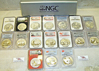 2002-2018 CHINA PANDA SILVER 1 Oz. 10Yn S10Y Lot of 17 Coins   NGC & PCGS MS 70