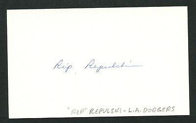 Rip Repulski (d. 1993) signed autograph Baseball 3x5 Index Card 4063-19