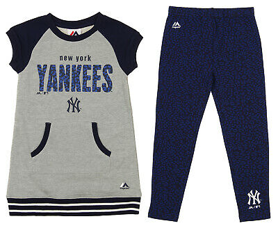 Majestic MLB Little Girls New York Yankees Cheer Loud Shirt & Leggings Set
