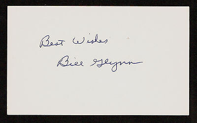 Bill Glynn (d. 2013) signed autograph Baseball 3x5 Index Card 2060-08