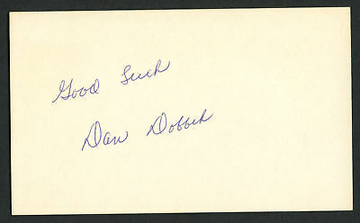 Dan Dobbek signed autograph auto 3x5 index card Baseball Player 8043-00