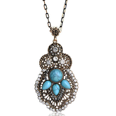 Turquoise Crystal Antique Gold Plated Necklace For Women Lady Anniversary Gift