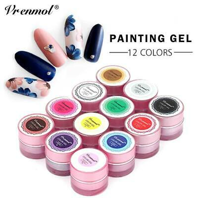 Vrenmol 12 Colors 3D Nail Art Paint Draw Painting Acrylic UV Gel Tip DIY Kit