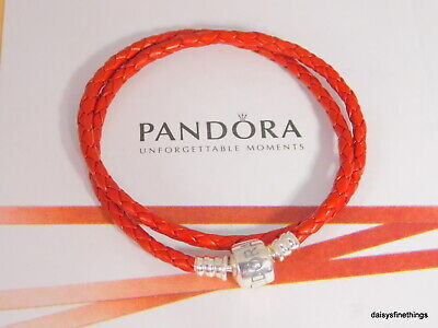 Authentic Pandora Bracelet Double Braided Leather Red  #590705Crd-D3 20.5Cm/8.1