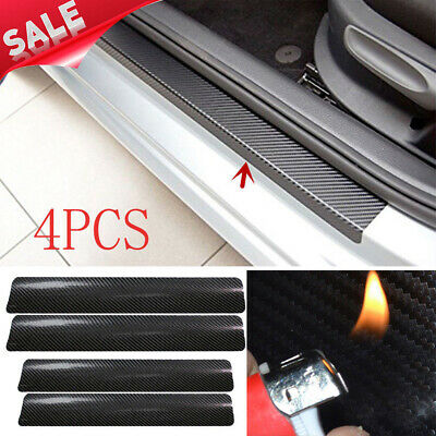 New 4Pcs Carbon Fiber Black Car Door Sill Scuff Plate Cover Anti Scratch Sticker