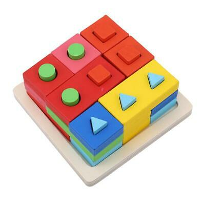 Kid Child Building Block Puzzle Matching Color Sorting Board Wooden Toys Gift LA