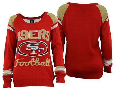 4b3fc86ed8cf1 Forever Collectibles NFL Women s San Francisco 49ers Glitter Scoop Neck  Sweater