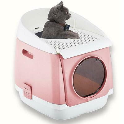 Two Door Entry Cat Litter Box Easy Clean Fully Enclosed Cat Toilet Kitty Big Cat