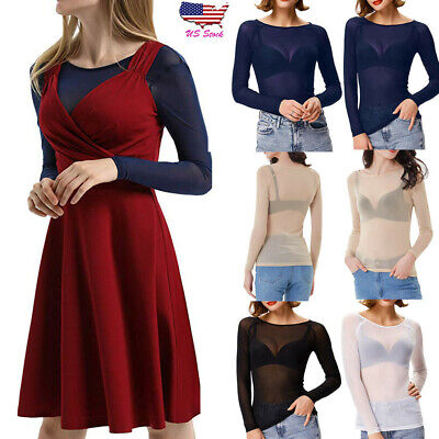 Women Solid Long Sleeve Seamless Sheer Arm Shaper Dress Top Crop Mesh Blouse USA
