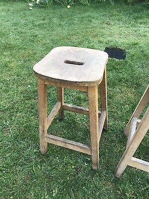 Vintage Antique Solid Wood Lab Stool Shaped Seat Very Heavy Original Solid