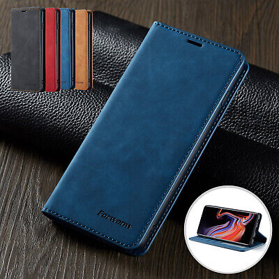 For Samsung S10 Plus S10e Case Smooth Magnetic Card Pocket Leather Stand Cover