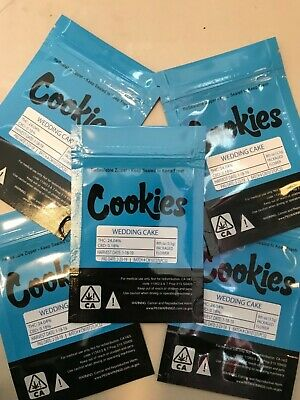 10 x 3.5g blue cookies bags with STRAIN STICKERS
