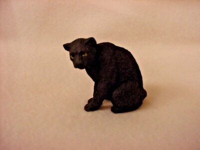 BLACK PANTHER wild cat animal FIGURINE Resin HAND PAINTED MINIATURE Small Mini