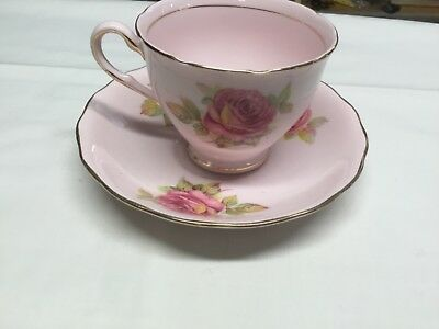 Vintage Colclough Bone China Pink Teacup and Saucer Yellow and Pink roses