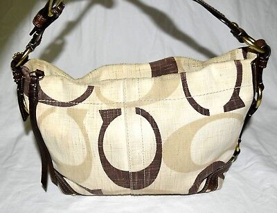 4c8ca8f40124 Coach 12197 Carly Tonal Signature Cream Brown Canvas with Brown Leather  Hobo Bag