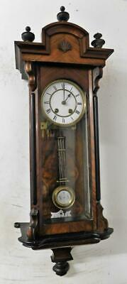 lenzkirch walnut & ebonised vienna wall clock c1900s
