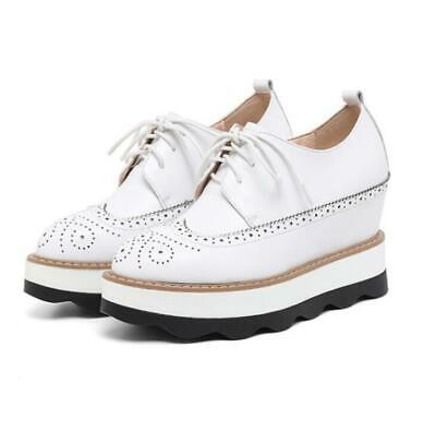 493114acb6 Women Leather Lace Up Brogue Carved British Shoes Platforms Creeper Hidden  Wedge