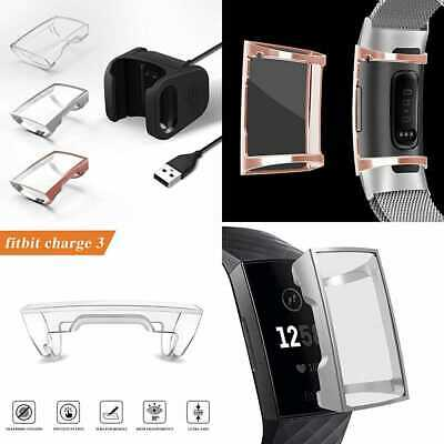 【1+3 Pack】 Yijyi Compatible W Fitbit Charge 3 Charger & Case Screen Protector 1