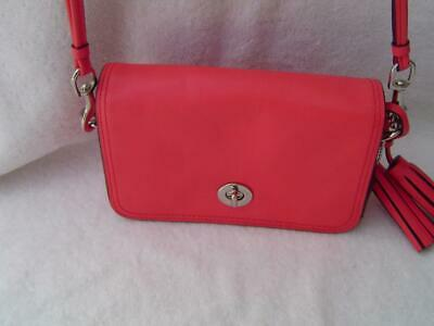 Authentic Coach Coral Leather Penny Flap Small Shoulder Bag  19914 Euc 2fad7134fed2a