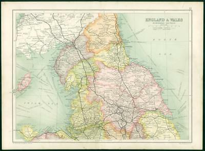 1912 Original Colour Antique Map  - ENGLAND WALES NORTHERN SECTION (62)