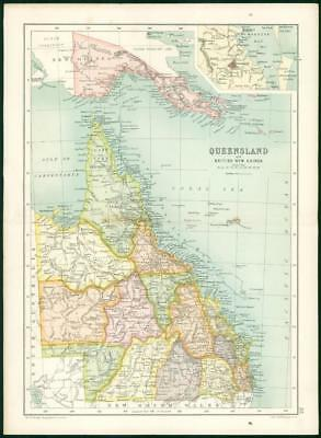 1912 Original Colour Antique Map - QUEENSLAND Australia BRITISH NEW GUINEA (2)