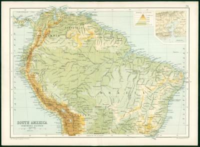 1912 Original Colour Antique Map - SOUTH AMERICA NORTHERN SECTION (78)