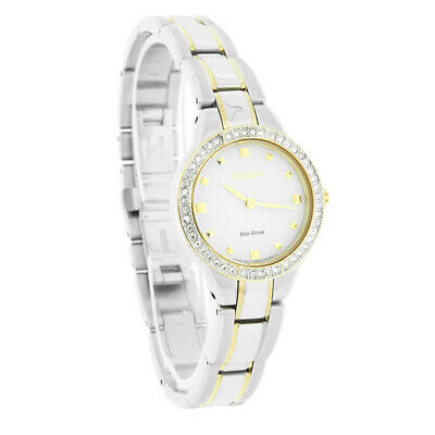 Citizen Eco-Drive Ladies Silhouette Crystal White Dial Two Tone Watch EX1364-59A