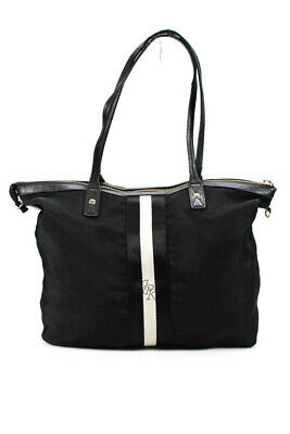 5791ee30f640 JPK Paris 75 Womens Tote Handbag Black White Leather Trim Large LL19LL