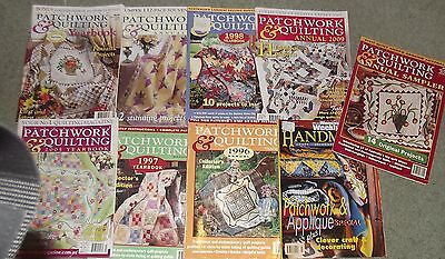 9 x Patchwork & Quilting Annuals 1996 1997 1998 2000 2005 2009 yearbooks more