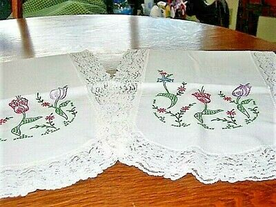 """Vtg.LINEN Runners (2pc)HAND EMBROIDERED TULIPS,LACE TRIM 14x40""""ea.1940's EXCOND!"""