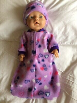 """Doll clothes - Sleeping Bag & Hat To Fit 17"""" Baby Born Doll ~ Mauve~ Hearts"""