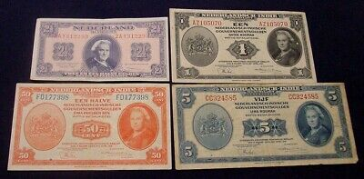 1940s Netherlands and Netherlands East Indies banknotes x 4.