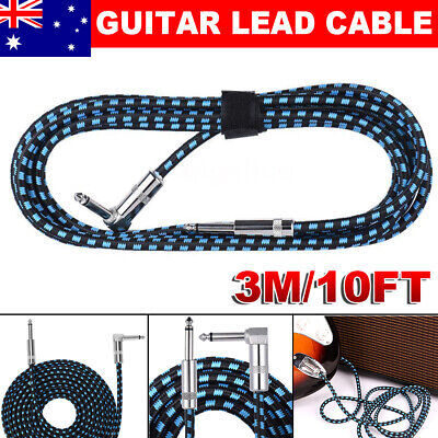 10FT 3M Guitar Lead 1 Right Angle Jack Noiseless Braided Wire Instrument Cable