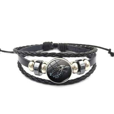 Game of Thrones Leather Bracelets Jewelry Black Multilayers Weave Charm Bangle