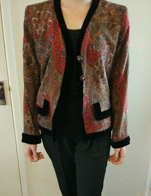 aff01192d9a Vintage Yves Saint Laurent Rive Gauche Red Paisley Jacket and Velvet Trim  8/10UK