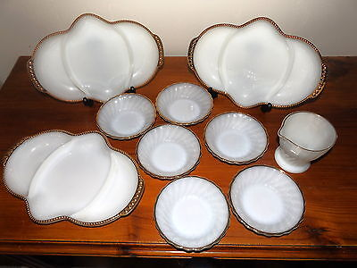 Anchor Hocking Fire King Milk Glass Surburbia Dishes & Jug & 3  Divided Platters