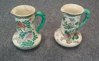 "2 Antique Celedon China Hand Painted 6"" Pitchers Similar but Different"