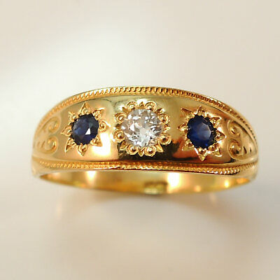 Victorian Edwardian Antique 18 Carat Gold Sapphire & diamond Ring
