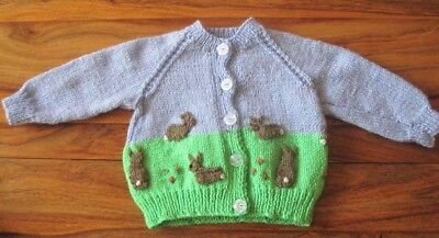 Hand Knitted Rabbits At The Allotment Cardigan. Easter Gift Idea? 0-3M