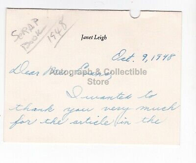 Janet Leigh Signed (Autographed) correspondence to Harry Evans ! Actress