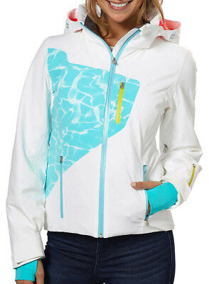 NEW  550 Womens Spyder Pandora Ski Jacket Ladies Coat Size 10 White Teal  Swirl c33ef331a