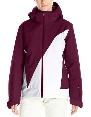 275 Womens Spyder Amp Insulated Ski Jacket Ladies Coat Size Large White    Plum d9213e610