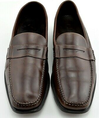 fdf74fe7a93 Mens Cole Haan Brown Leather Penny Loafers Shoes 10.5 10 1 2 M Moc Toe