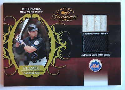 Mike Piazza 2003 Timeless Treasures Classic Combos 84/100 Bat Jsy New York Mets