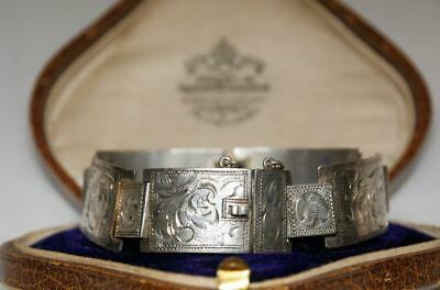 GORGEOUS Antique VICTORIAN Solid SILVER Ornate Panel BRACELET Continental BEAUTY