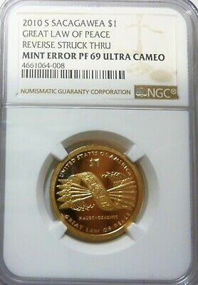 2010 S Sacagawea Native NGC Extremely Scarce Mint Error Ultra Cameo Proof 69